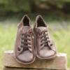 Kép 3/5 - GITA bohemian MÁRVÁNYOS BARNA kézműves bőr cipő