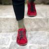 Kép 2/4 - GITA bohemian BORDÓ NUBUK kézműves bőr cipő