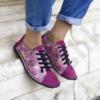 Kép 1/2 - GITA bohemian CIKLÁMEN VIRÁGOS kézműves bőr cipő