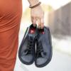 Kép 1/3 - GITA bohemian FEKETE kézműves bőr cipő