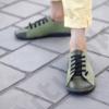 Kép 2/2 - GITA bohemian KÉTSZÍNŰ OLÍVA kézműves bőr cipő