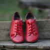 Kép 4/6 - GITA bohemian PIROS kézműves bőr cipő