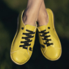 Kép 3/5 - GITA bohemian SÁRGA kézműves bőr cipő