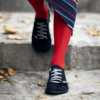 Kép 2/4 - GITA bohemian SÖTÉTKÉK NUBUK kézműves bőr cipő