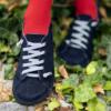 Kép 3/4 - GITA bohemian SÖTÉTKÉK NUBUK kézműves bőr cipő