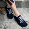 Kép 1/4 - GITA bohemian SÖTÉTKÉK NUBUK kézműves bőr cipő