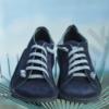 Kép 4/4 - GITA bohemian SÖTÉTKÉK NUBUK kézműves bőr cipő