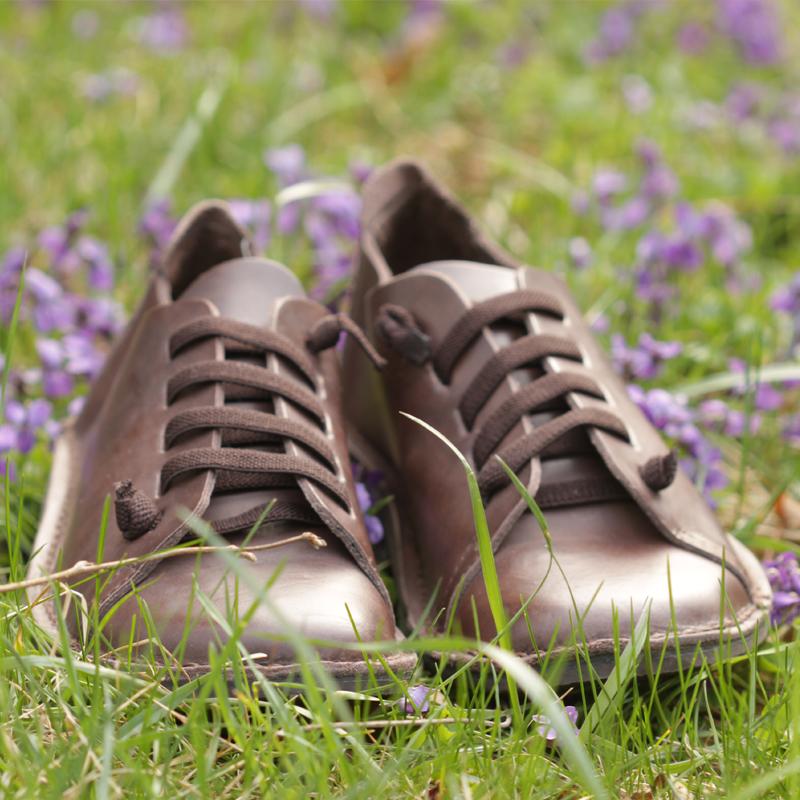 GITA bohemian MÁRVÁNYOS BARNA kézműves bőr cipő