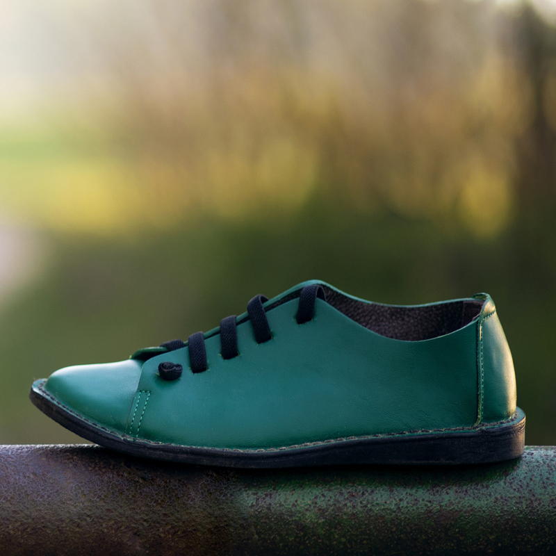 GITA bohemian ZÖLD kézműves bőr cipő