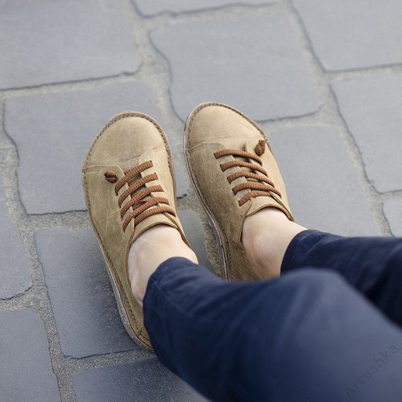 GITA bohemian ANTIK BARNA kézműves bőr cipő