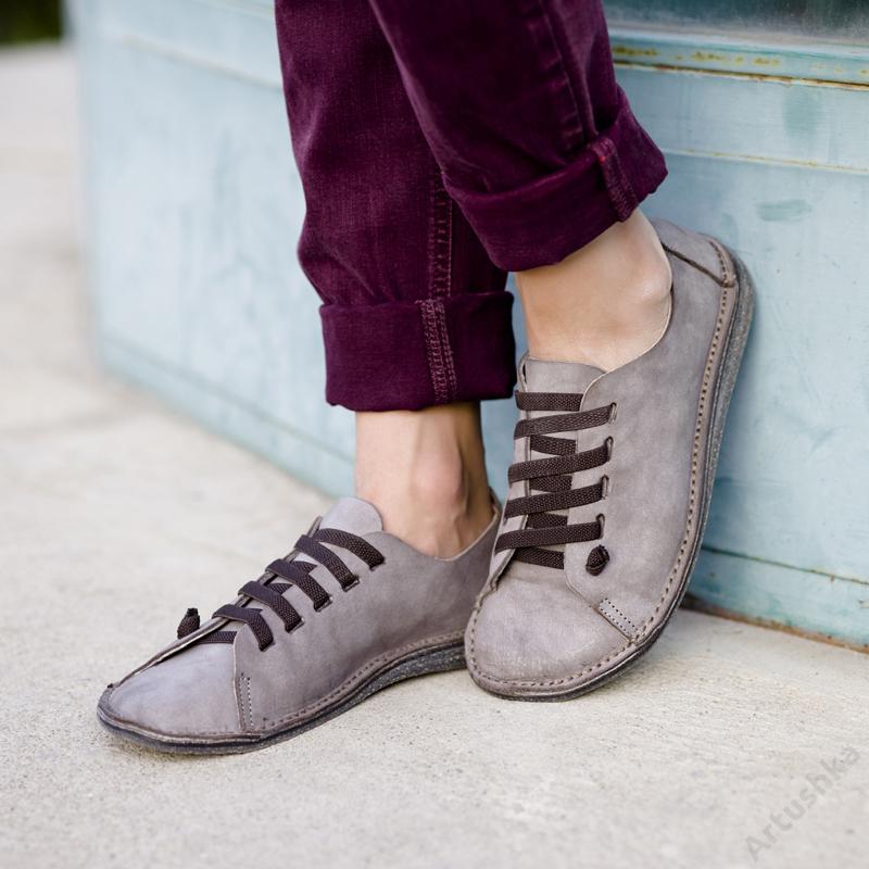 GITA bohemian ANTIK SZÜRKE kézműves bőr cipő