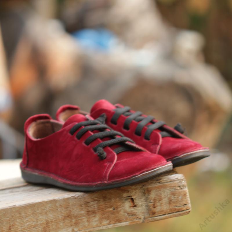 GITA bohemian BORDÓ NUBUK kézműves bőr cipő