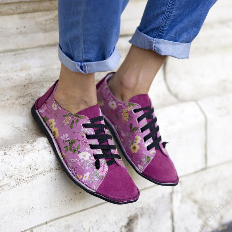 GITA bohemian CIKLÁMEN VIRÁGOS kézműves bőr cipő