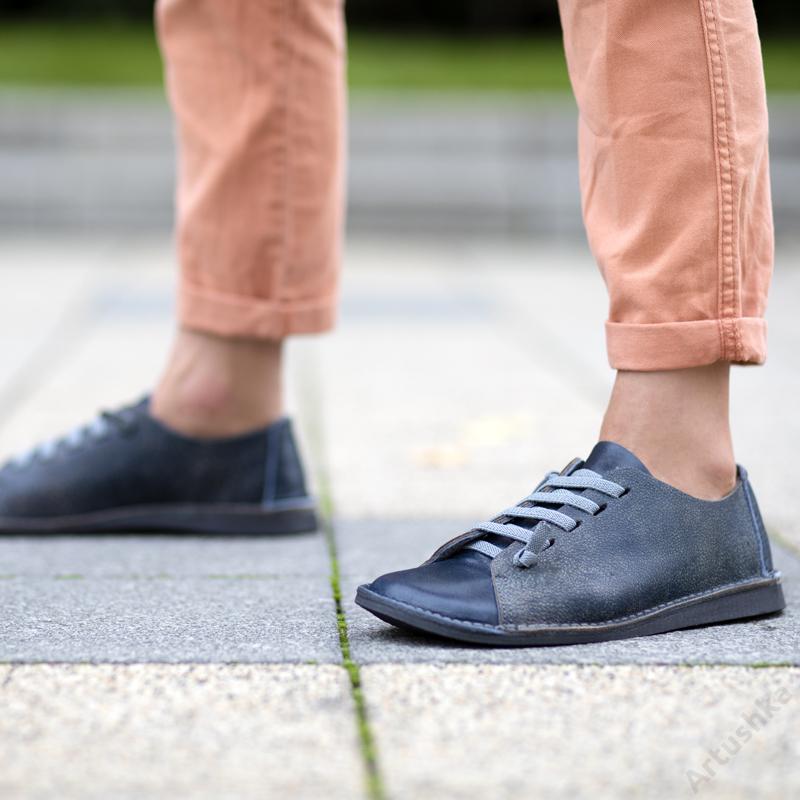 GITA bohemian KÉK KARCOS kézműves bőr cipő