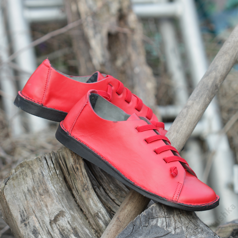 GITA bohemian PIROS kézműves bőr cipő