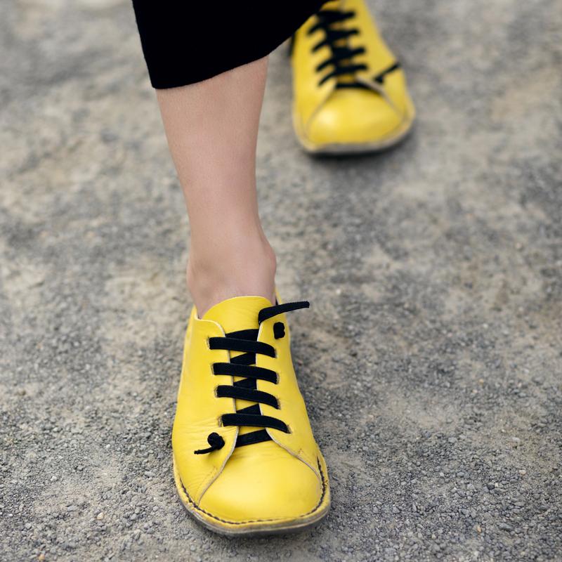 GITA bohemian SÁRGA kézműves bőr cipő