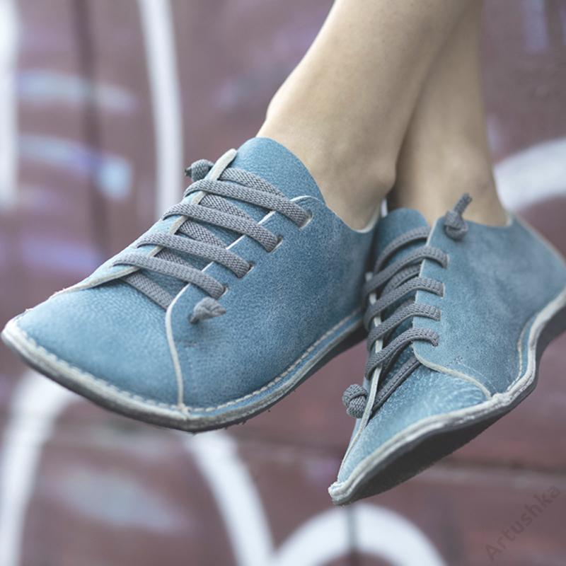 GITA bohemian TÜRKIZKÉK kézműves bőr cipő