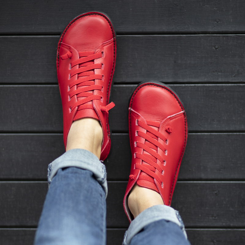 GITA boots PIROS kézműves bőr cipő