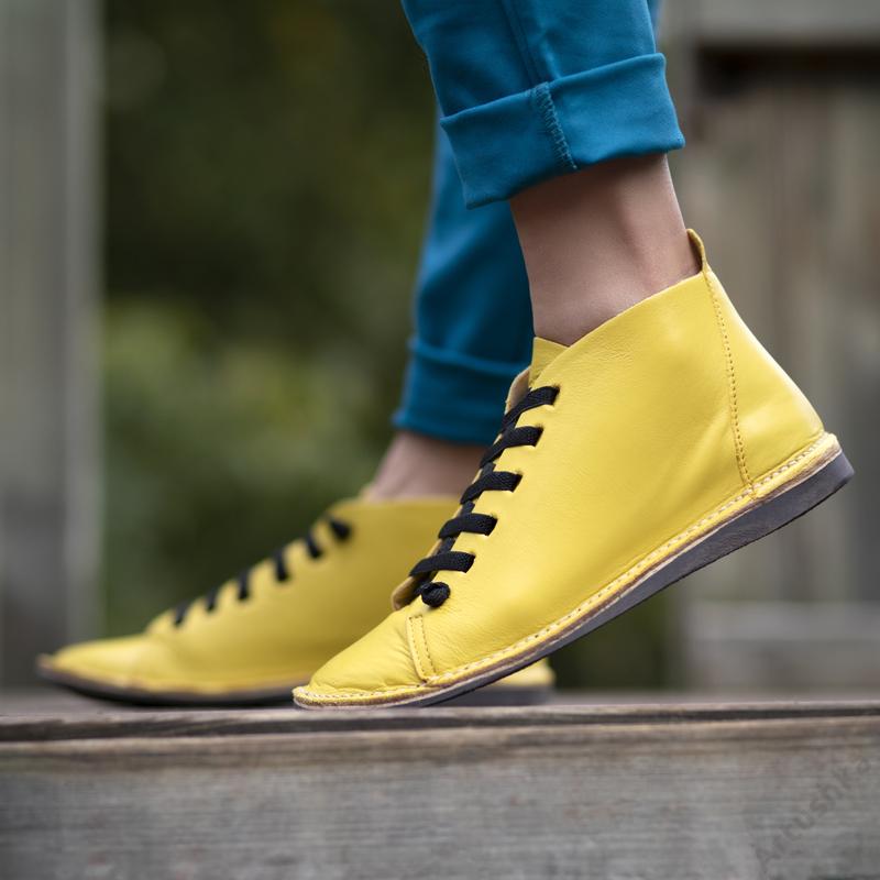 GITA boots SÁRGA kézműves bőr cipő