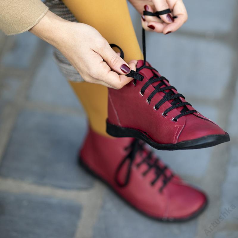 GITA boots BORDÓ kézműves bőr cipő
