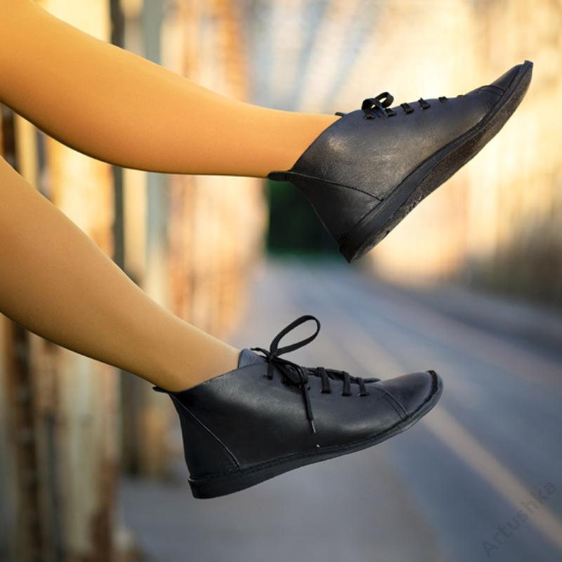 GITA boots FEKETE kézműves bőr cipő