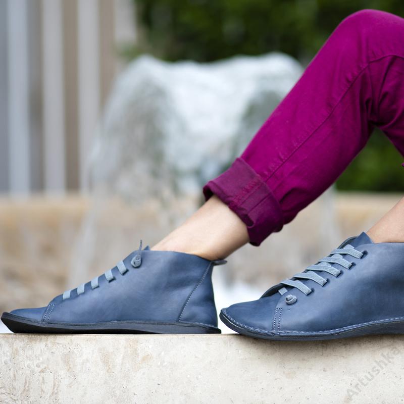 GITA boots KÉKESSZÜRKE kézműves bőr cipő